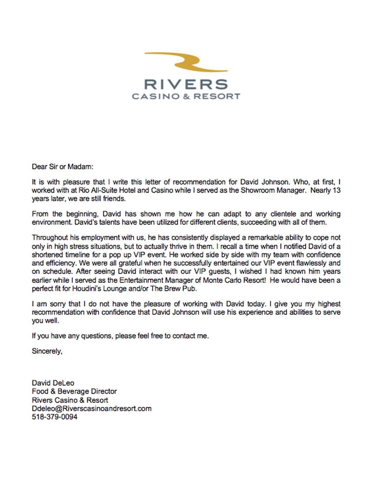 rivers letter